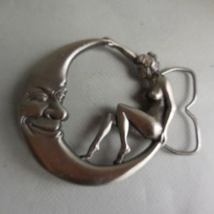 Woman and The Moon Metal Belt Buckle